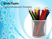 Colored Pencils In Stand PowerPoint Templates PPT Themes And Graphics
