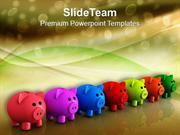 Colorful Piggy Bank Savings Future PowerPoint Templates PPT Themes And