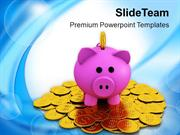 Piggy Bank On Dollar Coins Savings PowerPoint Templates PPT Themes And