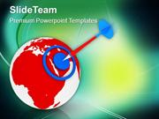 World With Target Strategy Geographical PowerPoint Templates PPT Theme