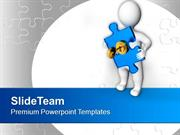 3d Man With Puzzle And Golden Key PowerPoint Templates PPT Themes And
