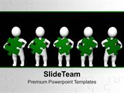3d Men With Green Puzzle Teamwork PowerPoint Templates PPT Themes And