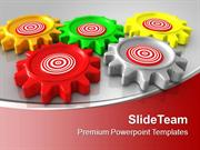 Colorful Gears Interconnected On Red Background PowerPoint Templates P