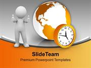 Man With Globe And Alarm Clock PowerPoint Templates PPT Themes And Gra