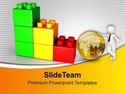 Man With Golden Globe Lego Blocks PowerPoint Templates PPT Themes And