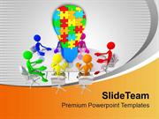 Men With Colorful Jigsaw Puzzle Idea PowerPoint Templates PPT Themes A