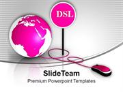 Pink Globe With Mouse DSL Global Issues PowerPoint Templates PPT Theme
