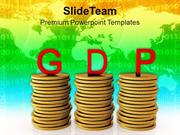 Gross Domestic Product On Dollar Coins PowerPoint Templates PPT Themes