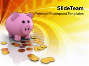Piggy Bank And Dollar Coins Savings PowerPoint Templates PPT Themes An