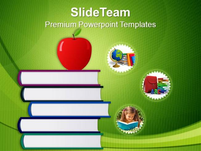 stack of books and apple education powerpoint templates ppt themes