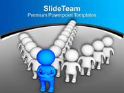 3d Blue Team Leader Leading His Team PowerPoint Templates PPT Backgrou
