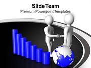 3d Handshake With Graph And Globe PowerPoint Templates PPT Backgrounds