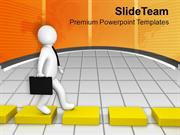 3d Man Going On Yellow Cube Way PowerPoint Templates PPT Backgrounds F