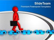 3d Man Walking On Blue Puzzle Road PowerPoint Templates PPT Background