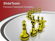 Golden Chess Pieces Isolated On White Background PowerPoint Templates