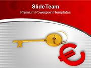 Golden Key And Euro Symbol PowerPoint Templates PPT Themes And Graphic