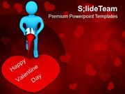 3d Man Painting Valentines Heart PowerPoint Templates PPT Themes And G
