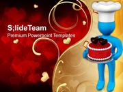 3d Man With Valentines Cake PowerPoint Templates PPT Themes And Graphi