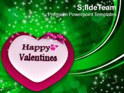 Happy Valentines With Heart And Bow Abstract PowerPoint Templates PPT