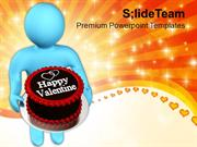 Man Wishing Valentine With Cake PowerPoint Templates PPT Themes And Gr
