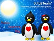 Penguin Couple Holding Hands Valentines Day PowerPoint Templates PPT T