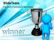 3d Man Standing With Silver Trophy PowerPoint Templates PPT Themes And