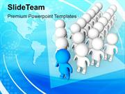 3d Men Standing In Arrow Shape PowerPoint Templates PPT Themes And Gra