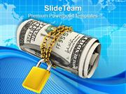 American Dollars Chained And Locked PowerPoint Templates PPT Themes An