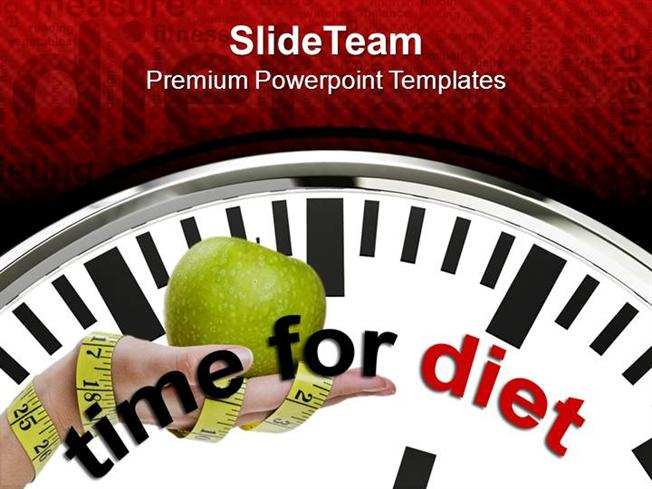 clock with words time for diet powerpoint templates ppt themes and