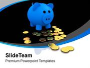 Blue Piggy Bank With Gold Coins PowerPoint Templates PPT Themes And Gr