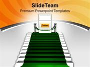 Green Carpet On Stairs Reaching Golden PowerPoint Templates PPT Themes
