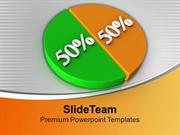 Pie Chart Showing 50 50 Factors Growth PowerPoint Templates PPT Themes