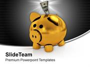 Piggy Bank With Dollar Money In It PowerPoint Templates PPT Themes And