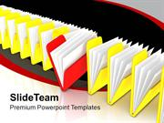 Row Of File Folders Yellow And Red PowerPoint Templates PPT Themes And