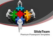 Team Pushing Colorful Puzzles Teamwork PowerPoint Templates PPT Themes