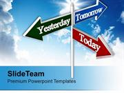 Today Tomorrow Yesterday Signpost Future PowerPoint Templates PPT Them
