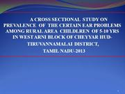 Prevalence of Ear Problem  AMONG RURAL AREA  CHILDLREN  OF 5-10 YRS