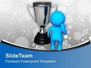 Man Thinking Of Trophy Competition PowerPoint Templates PPT Themes And