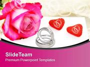 Rings And Flower With Rose To Show Love PowerPoint Templates PPT Theme