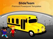 Yellow School Bus With Childrens Education PowerPoint Templates PPT Th
