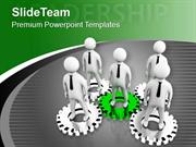 Gear Mechanism And Concept Of Leadership PowerPoint Templates PPT Them
