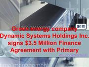 Green energy company Dynamic Systems Holdings Inc. signs $3.5 M.