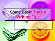 Basic Thesis Writing Tips