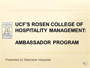 UCF's Rosen College of Hospitality Management  Ambassador Recruitment