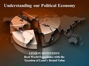 17 - Understanding our Political Economy - real world experience with