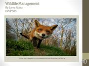 Why Wildlife Management