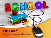 School Connected To Mouse Online Education PowerPoint Templates PPT Th