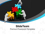 Team Efforts To Combine Jigsaw Puzzles PowerPoint Templates PPT Themes