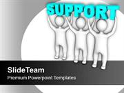 Three Men Join To Lift Words Support PowerPoint Templates PPT Themes A