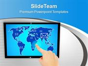Touch Screen And Hand Pushing E Mail PowerPoint Templates PPT Themes A
